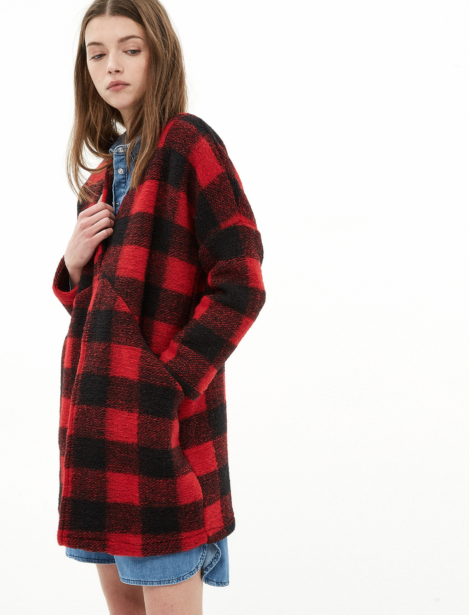 Red Check Women Check Coat 7KAK08007GW47R | Koton